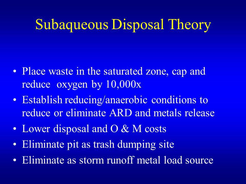 Subaqueous Disposal Theory Place waste in the saturated zone, cap and reduce oxygen by 10,000x Establish reducing/anaerobic conditions to reduce or el