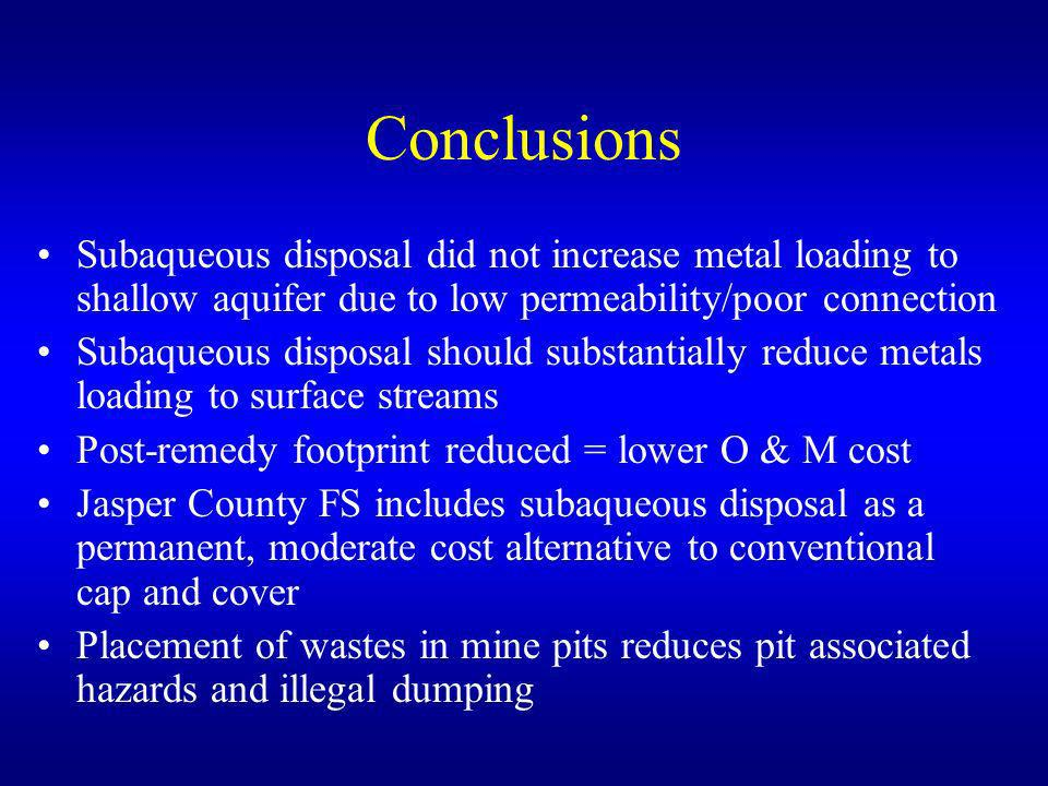 Conclusions Subaqueous disposal did not increase metal loading to shallow aquifer due to low permeability/poor connection Subaqueous disposal should s