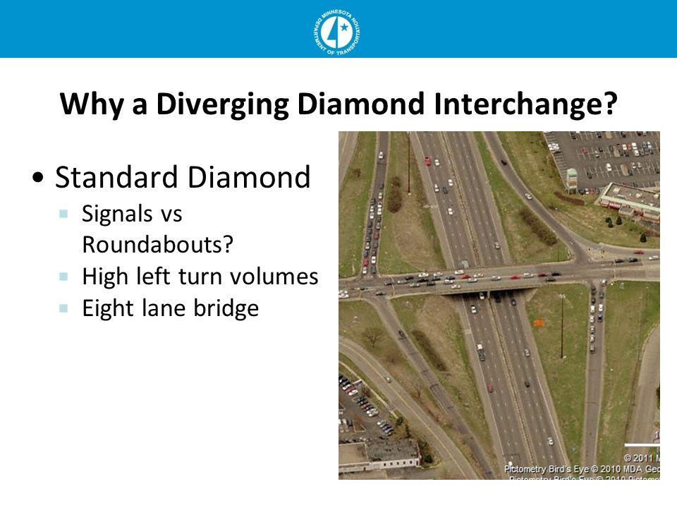 Why a Diverging Diamond Interchange? Standard Diamond Signals vs Roundabouts? High left turn volumes Eight lane bridge