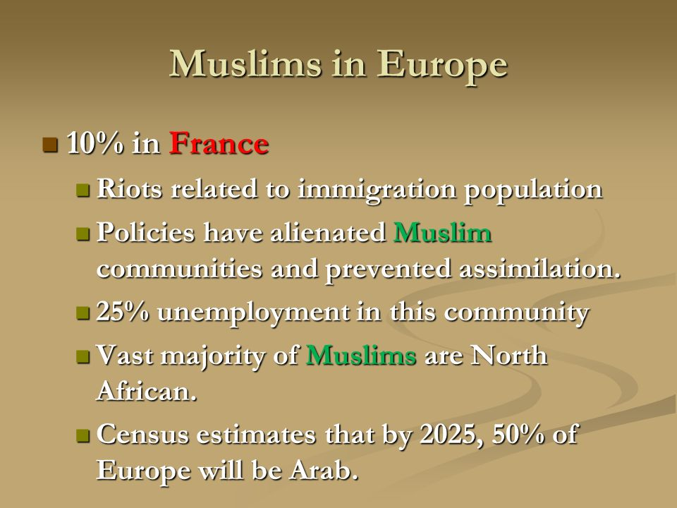 Muslims in Europe 10% in France 10% in France Riots related to immigration population Riots related to immigration population Policies have alienated Muslim communities and prevented assimilation.