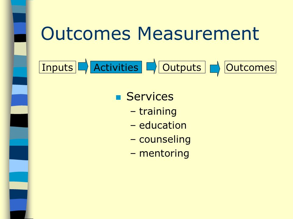 Outcomes Measurement n Services –training –education –counseling –mentoring InputsActivitiesOutputsOutcomes