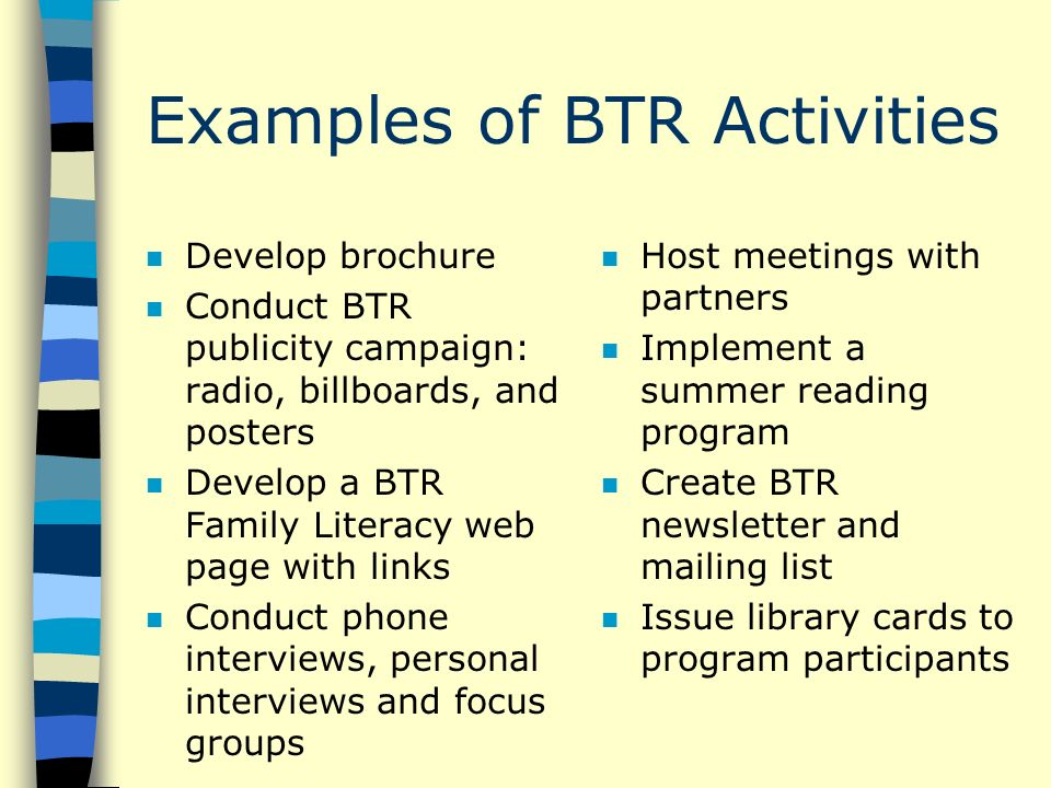 Examples of BTR Activities n Develop brochure n Conduct BTR publicity campaign: radio, billboards, and posters n Develop a BTR Family Literacy web page with links n Conduct phone interviews, personal interviews and focus groups n Host meetings with partners n Implement a summer reading program n Create BTR newsletter and mailing list n Issue library cards to program participants