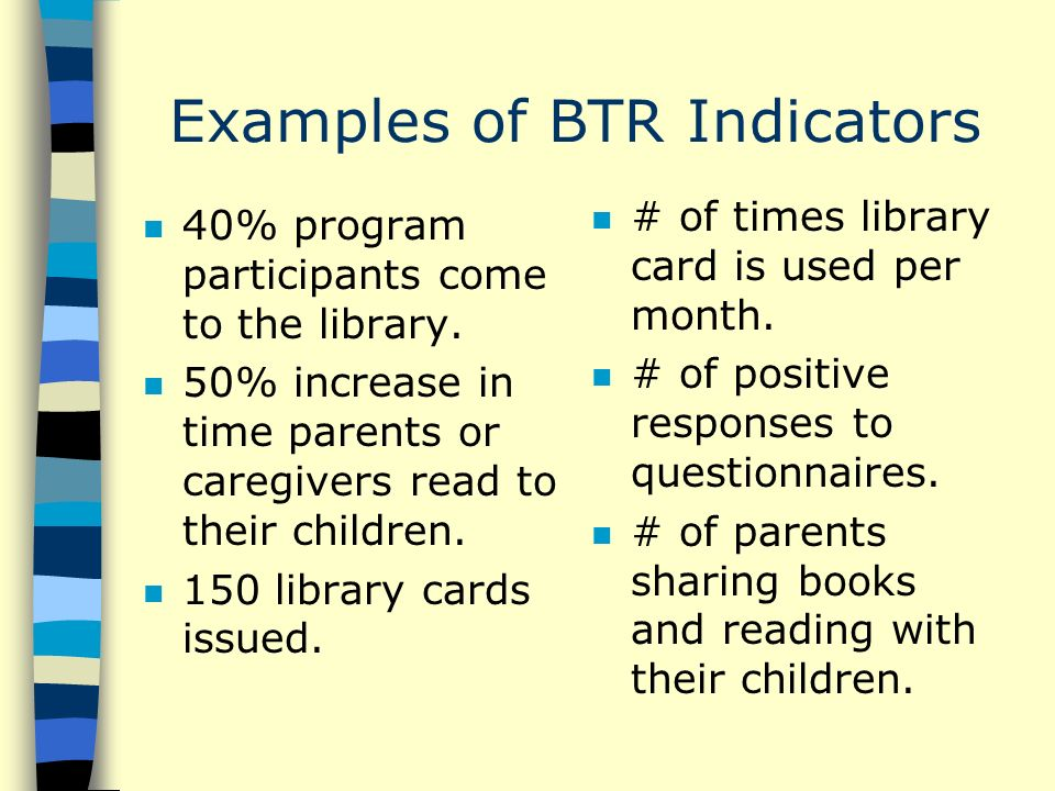 Examples of BTR Indicators n 40% program participants come to the library.