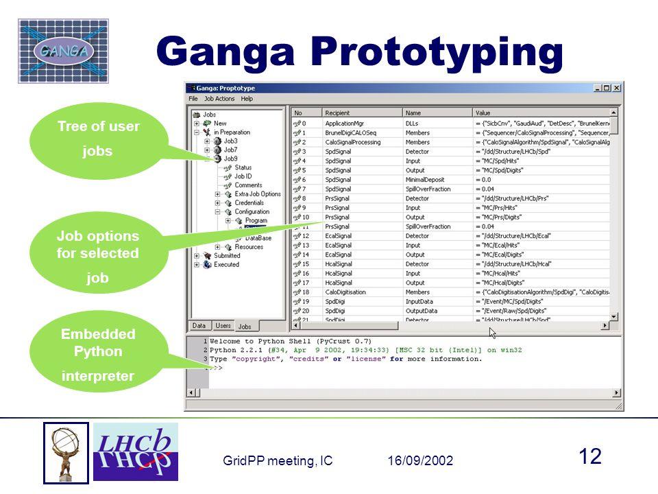 16/09/2002GridPP meeting, IC 12 Ganga Prototyping Embedded Python interpreter Tree of user jobs Job options for selected job