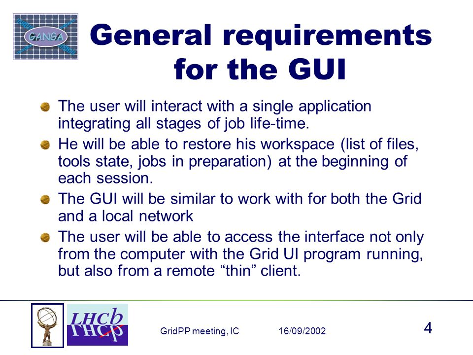 16/09/2002GridPP meeting, IC 4 General requirements for the GUI The user will interact with a single application integrating all stages of job life-time.