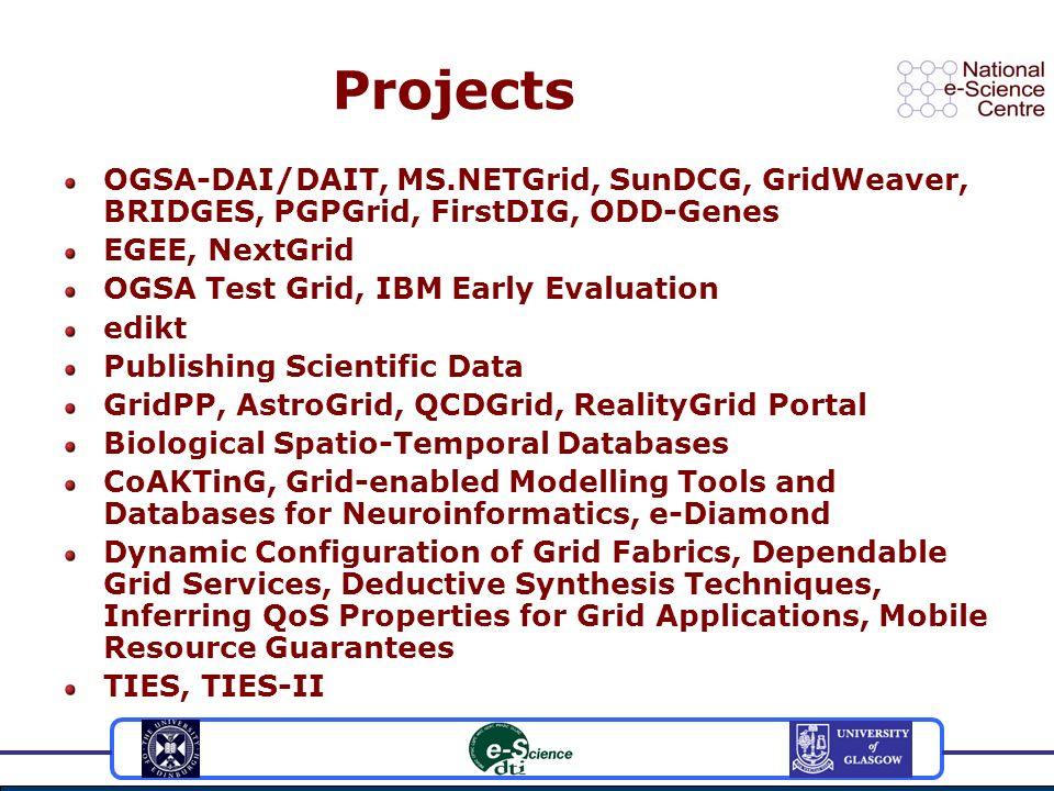 Projects OGSA-DAI/DAIT, MS.NETGrid, SunDCG, GridWeaver, BRIDGES, PGPGrid, FirstDIG, ODD-Genes EGEE, NextGrid OGSA Test Grid, IBM Early Evaluation edikt Publishing Scientific Data GridPP, AstroGrid, QCDGrid, RealityGrid Portal Biological Spatio-Temporal Databases CoAKTinG, Grid-enabled Modelling Tools and Databases for Neuroinformatics, e-Diamond Dynamic Configuration of Grid Fabrics, Dependable Grid Services, Deductive Synthesis Techniques, Inferring QoS Properties for Grid Applications, Mobile Resource Guarantees TIES, TIES-II