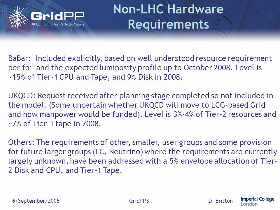D. Britton6/September/2006GridPP3 Non-LHC Hardware Requirements BaBar: Included explicitly, based on well understood resource requirement per fb -1 an