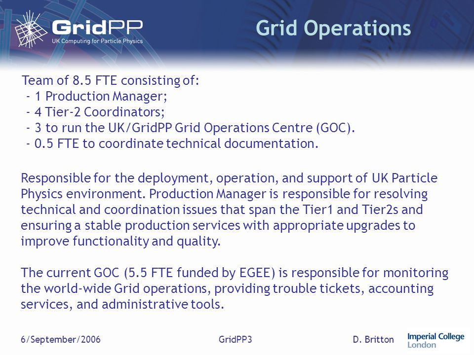 D. Britton6/September/2006GridPP3 Grid Operations Team of 8.5 FTE consisting of: - 1 Production Manager; - 4 Tier-2 Coordinators; - 3 to run the UK/Gr