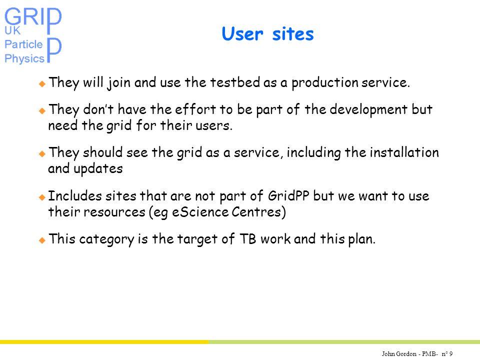 John Gordon - PMB- n° 10 Sites can be in multiple categories u e.g.