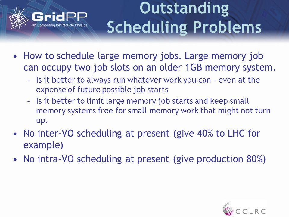 Outstanding Scheduling Problems How to schedule large memory jobs.