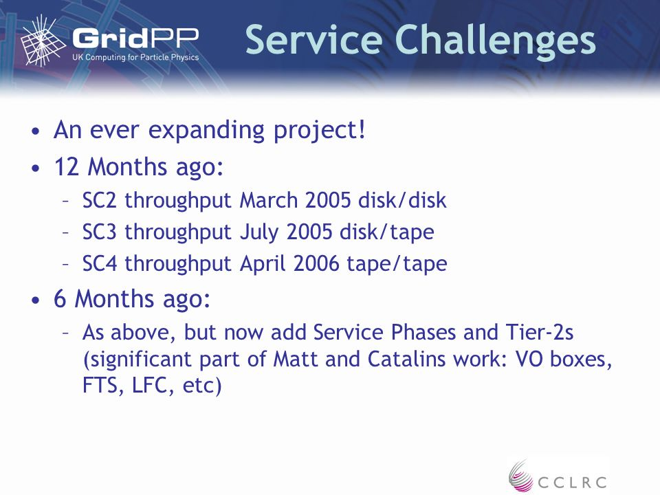 Service Challenges An ever expanding project.