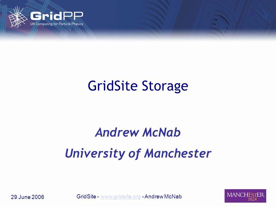 29 June 2006 GridSite - www.gridsite.org - Andrew McNabwww.gridsite.org GridSite Storage Andrew McNab University of Manchester