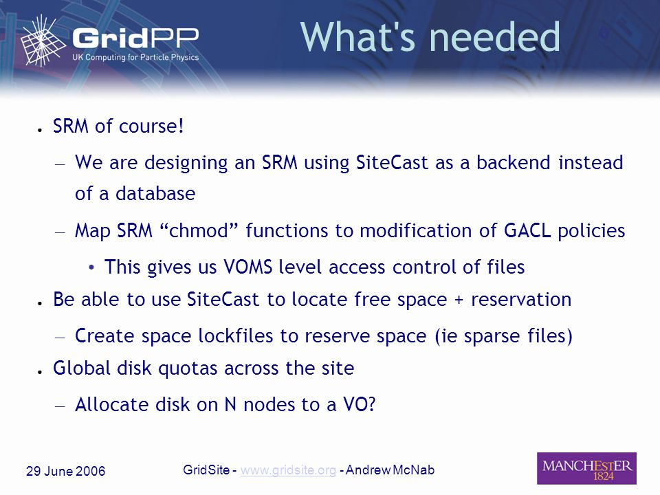 29 June 2006 GridSite - www.gridsite.org - Andrew McNabwww.gridsite.org What's needed SRM of course! – We are designing an SRM using SiteCast as a bac