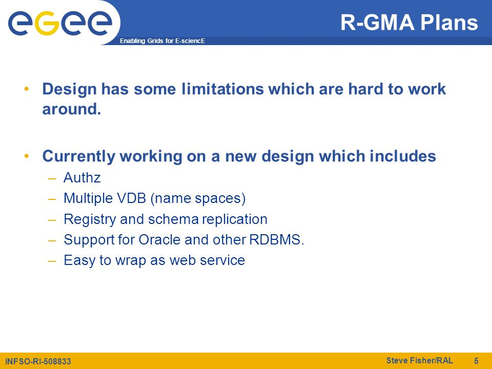 Enabling Grids for E-sciencE INFSO-RI-508833 Steve Fisher/RAL 5 R-GMA Plans Design has some limitations which are hard to work around.