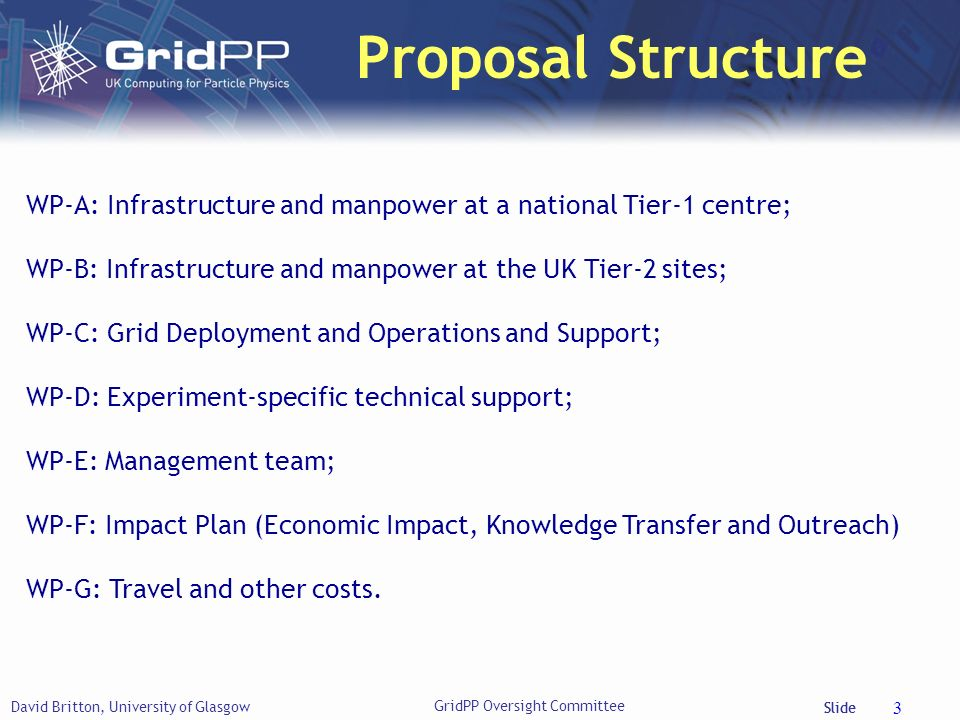 Slide Proposal Structure David Britton, University of Glasgow 3 WP-A: Infrastructure and manpower at a national Tier-1 centre; WP-B: Infrastructure an