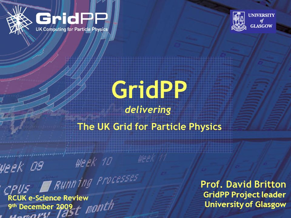 Slide David Britton, University of Glasgow IET, Oct 09 1 Prof. David Britton GridPP Project leader University of Glasgow GridPP delivering The UK Grid