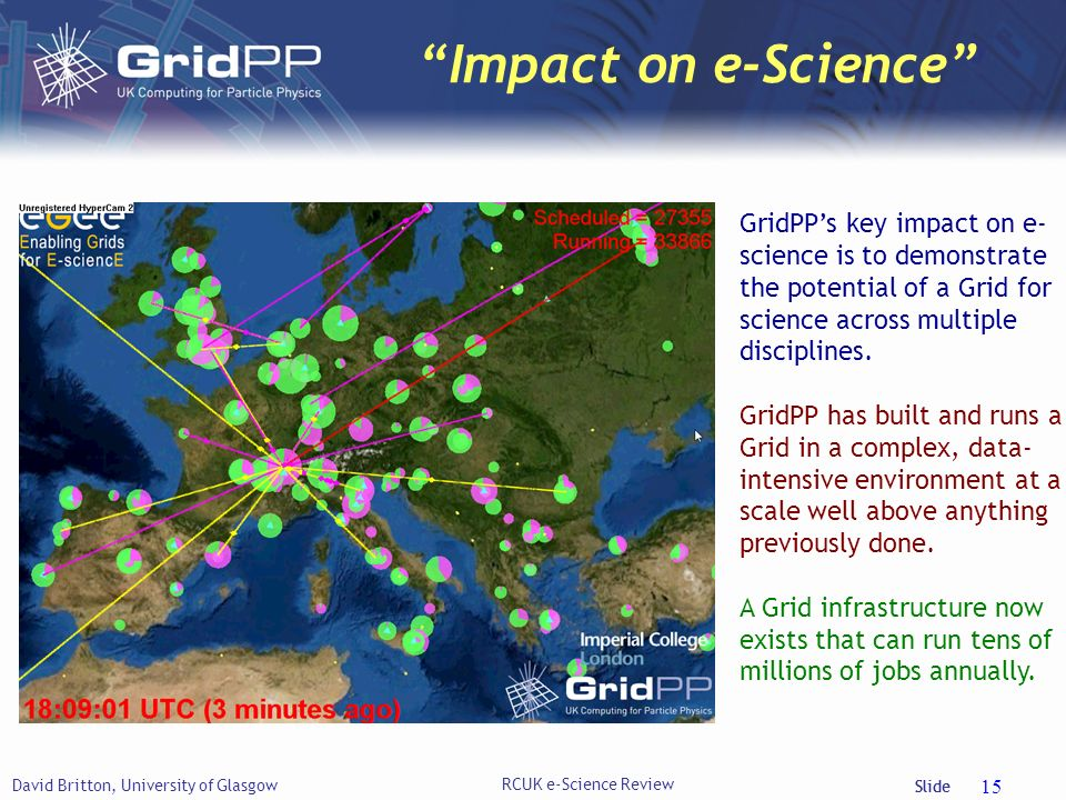 Slide Impact on e-Science David Britton, University of Glasgow RCUK e-Science Review 15 GridPPs key impact on e- science is to demonstrate the potential of a Grid for science across multiple disciplines.