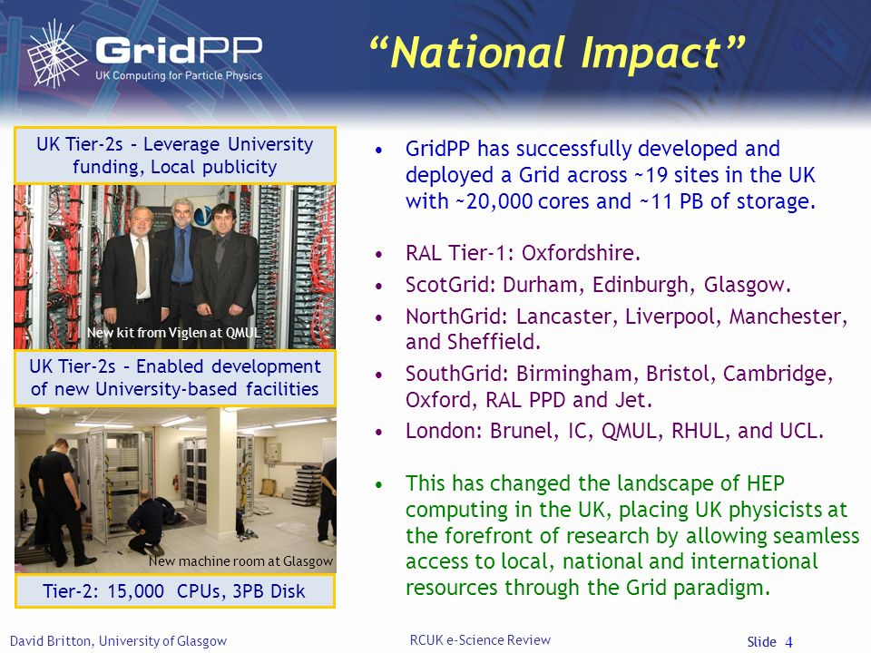 Slide National Impact GridPP has successfully developed and deployed a Grid across ~19 sites in the UK with ~20,000 cores and ~11 PB of storage.