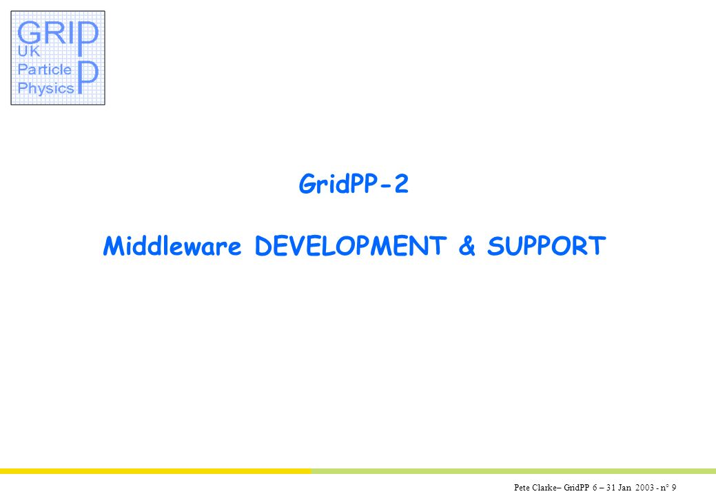 Pete Clarke– GridPP 6 – 31 Jan 2003 - n° 9 GridPP-2 Middleware DEVELOPMENT & SUPPORT