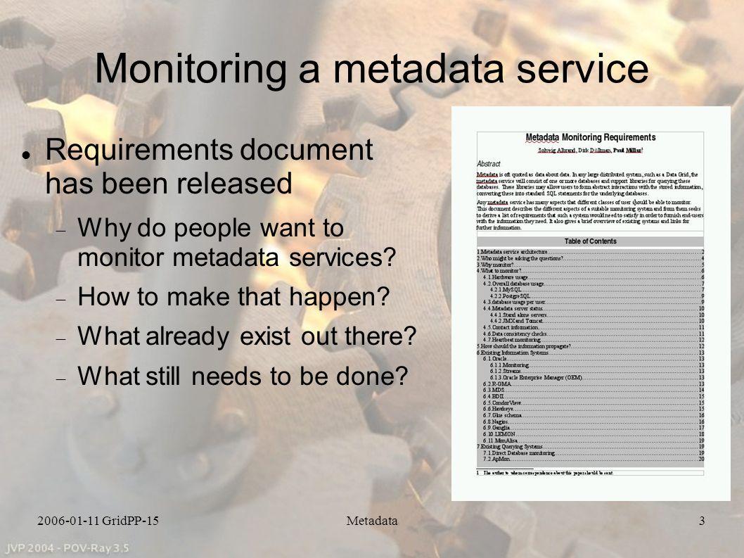 2006-01-11 GridPP-15Metadata14 Summary The metadata collaboration s work ongoing with various aspects of metadata.