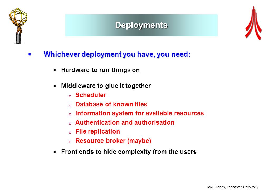 RWL Jones, Lancaster University Deployments Whichever deployment you have, you need: Whichever deployment you have, you need: Hardware to run things o