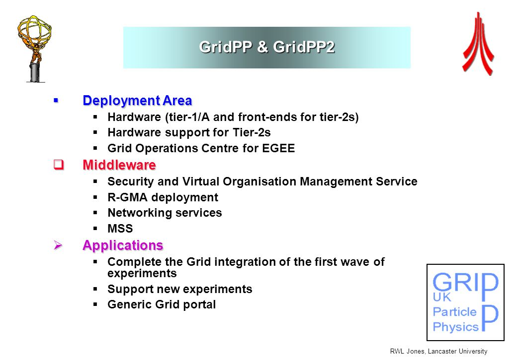 RWL Jones, Lancaster University GridPP & GridPP2 Deployment Area Deployment Area Hardware (tier-1/A and front-ends for tier-2s) Hardware support for T