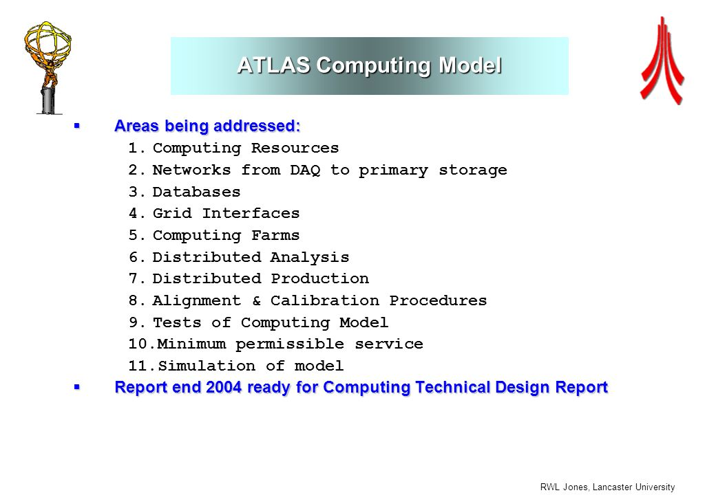 RWL Jones, Lancaster University ATLAS Computing Model Areas being addressed: Areas being addressed: 1.Computing Resources 2.Networks from DAQ to prima
