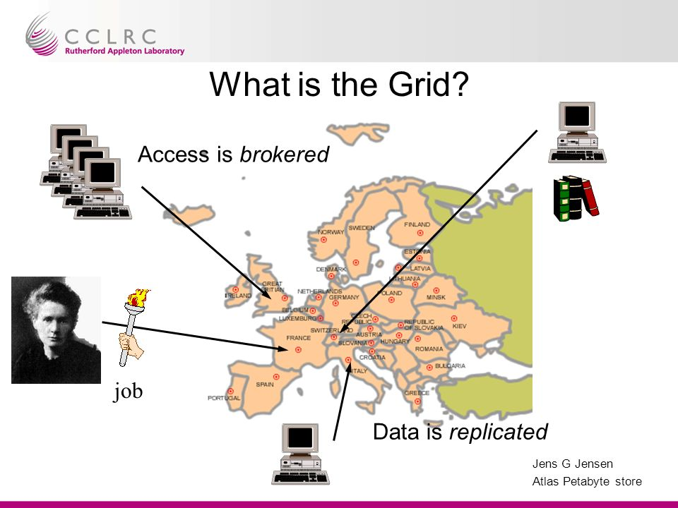 Jens G Jensen Atlas Petabyte store What is the Grid Access is brokered job Data is replicated