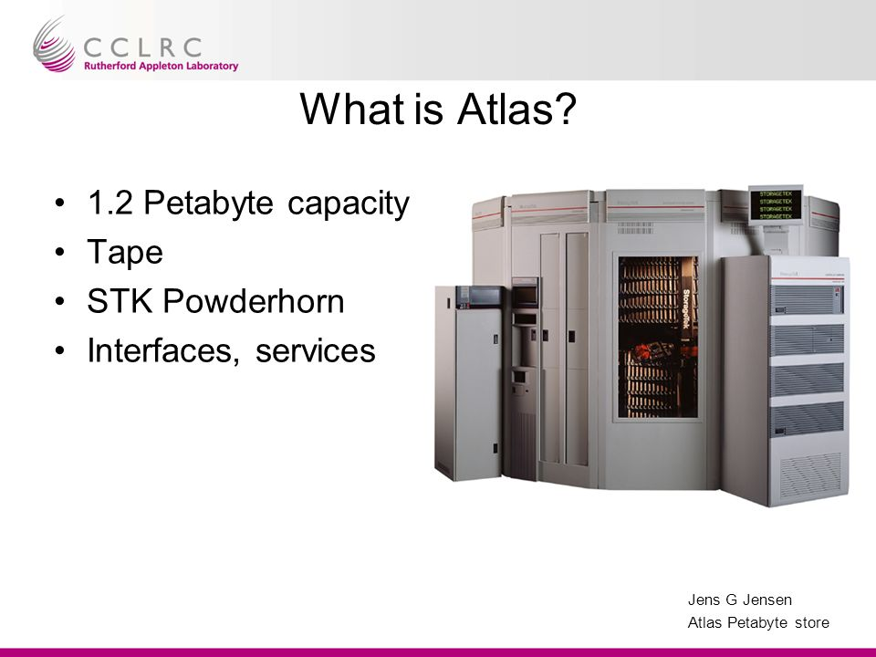 Jens G Jensen Atlas Petabyte store What is Atlas.