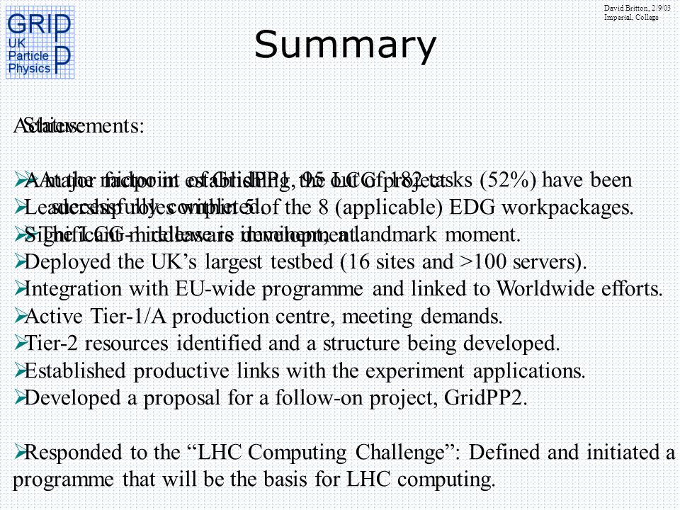 David Britton, 2/9/03 Imperial, College Summary Status: At the midpoint of GridPP1, 95 out of 182 tasks (52%) have been successfully completed. The LC