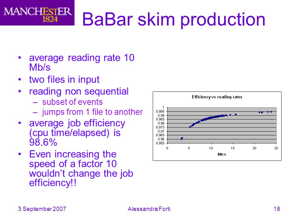 3 September 2007Alessandra Forti18 BaBar skim production average reading rate 10 Mb/s two files in input reading non sequential –subset of events –jumps from 1 file to another average job efficiency (cpu time/elapsed) is 98.6% Even increasing the speed of a factor 10 wouldnt change the job efficiency!!