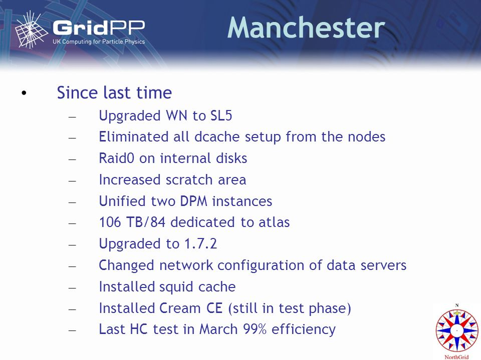 Manchester Since last time – Upgraded WN to SL5 – Eliminated all dcache setup from the nodes – Raid0 on internal disks – Increased scratch area – Unified two DPM instances – 106 TB/84 dedicated to atlas – Upgraded to 1.7.2 – Changed network configuration of data servers – Installed squid cache – Installed Cream CE (still in test phase) – Last HC test in March 99% efficiency