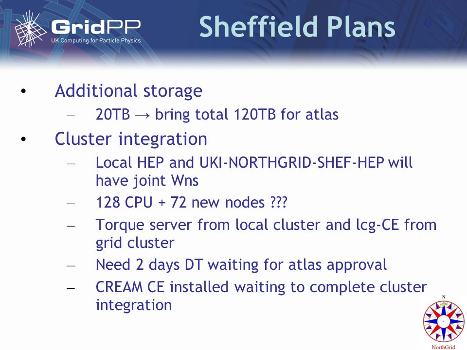 Sheffield Plans Additional storage – 20TB bring total 120TB for atlas Cluster integration – Local HEP and UKI-NORTHGRID-SHEF-HEP will have joint Wns –