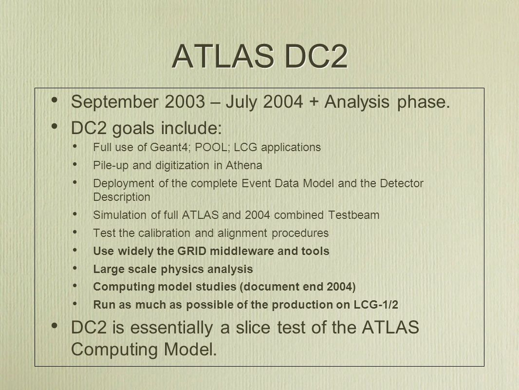 ATLAS DC2 - Schedule September 03: Release7 Mid-November 03: pre- production release February 27 th 04: Release 8 (production) April 1 st 04: June 1 st 04: DC2 July 15th Slide from Gilbert Poulard Put in place, understand & validate: Geant4; POOL; LCG applications Event Data Model Digitization; pile-up; byte-stream Conversion of DC1 data to POOL; large scale persistency tests and reconstruction Testing and validation: Run test-production Start final validation Start simulation; Pile-up & digitization Event mixing Transfer data to CERN Intensive Reconstruction on Tier0 Distribution of ESD & AOD Calibration; alignment Start Physics analysis Reprocessing Put in place, understand & validate: Geant4; POOL; LCG applications Event Data Model Digitization; pile-up; byte-stream Conversion of DC1 data to POOL; large scale persistency tests and reconstruction Testing and validation: Run test-production Start final validation Start simulation; Pile-up & digitization Event mixing Transfer data to CERN Intensive Reconstruction on Tier0 Distribution of ESD & AOD Calibration; alignment Start Physics analysis Reprocessing
