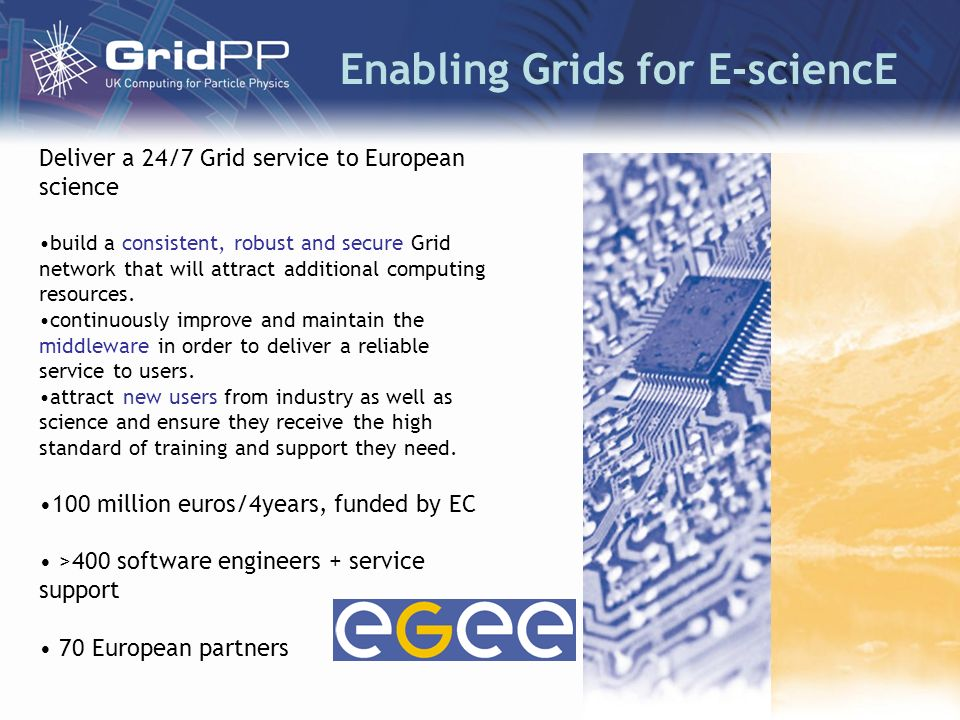 Enabling Grids for E-sciencE Deliver a 24/7 Grid service to European science build a consistent, robust and secure Grid network that will attract additional computing resources.