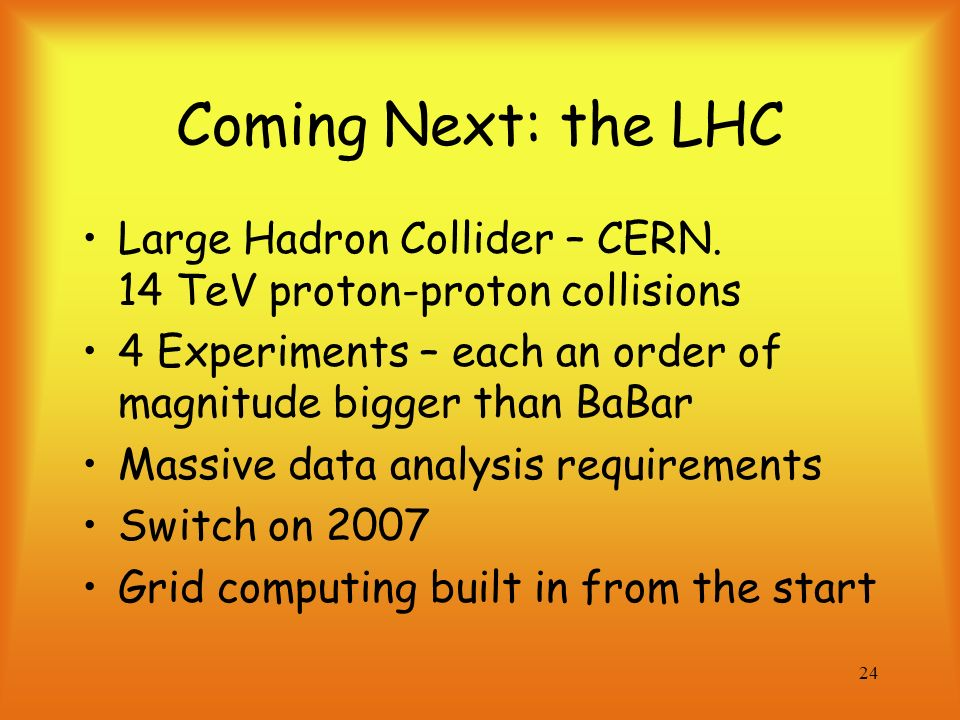 24 Coming Next: the LHC Large Hadron Collider – CERN.