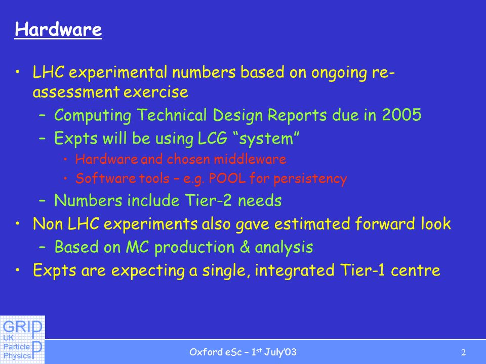 2Oxford eSc – 1 st July03 Hardware LHC experimental numbers based on ongoing re- assessment exercise –Computing Technical Design Reports due in 2005 –Expts will be using LCG system Hardware and chosen middleware Software tools – e.g.