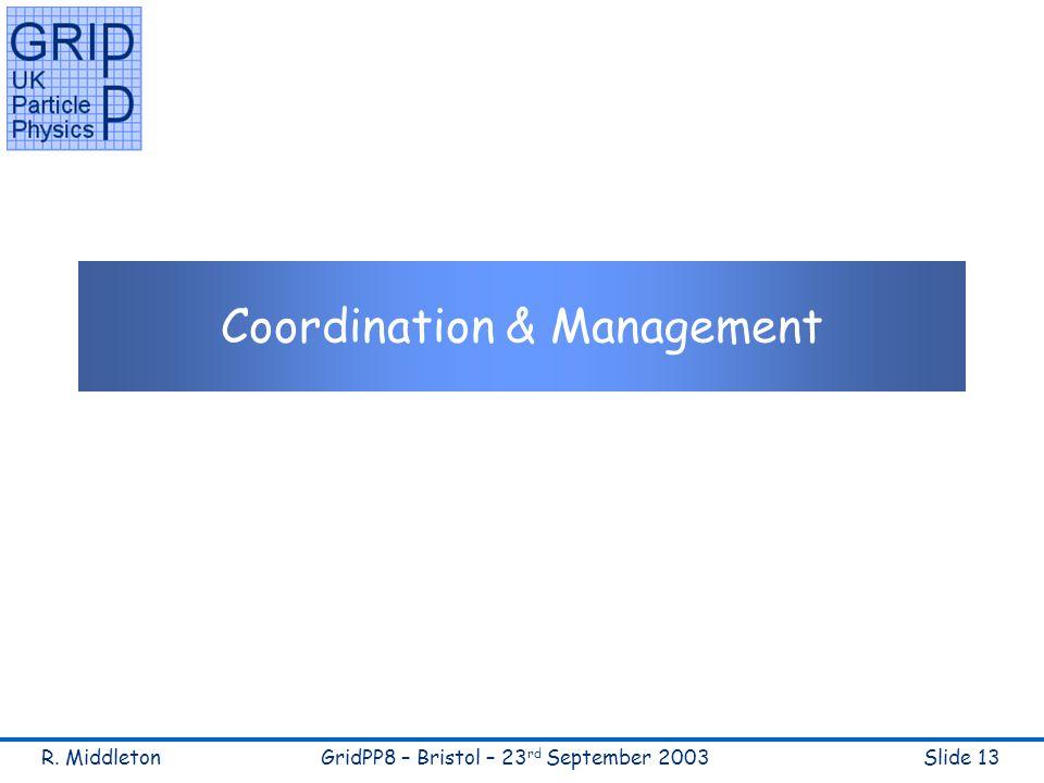 R. MiddletonGridPP8 – Bristol – 23 rd September 2003Slide 13 Coordination & Management