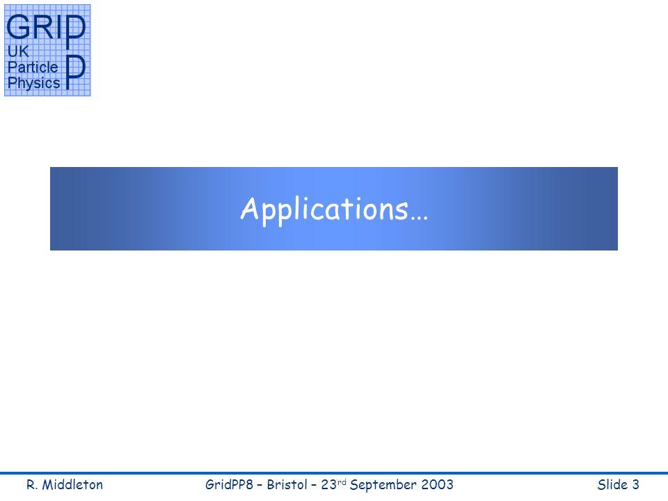 R. MiddletonGridPP8 – Bristol – 23 rd September 2003Slide 3 Applications…
