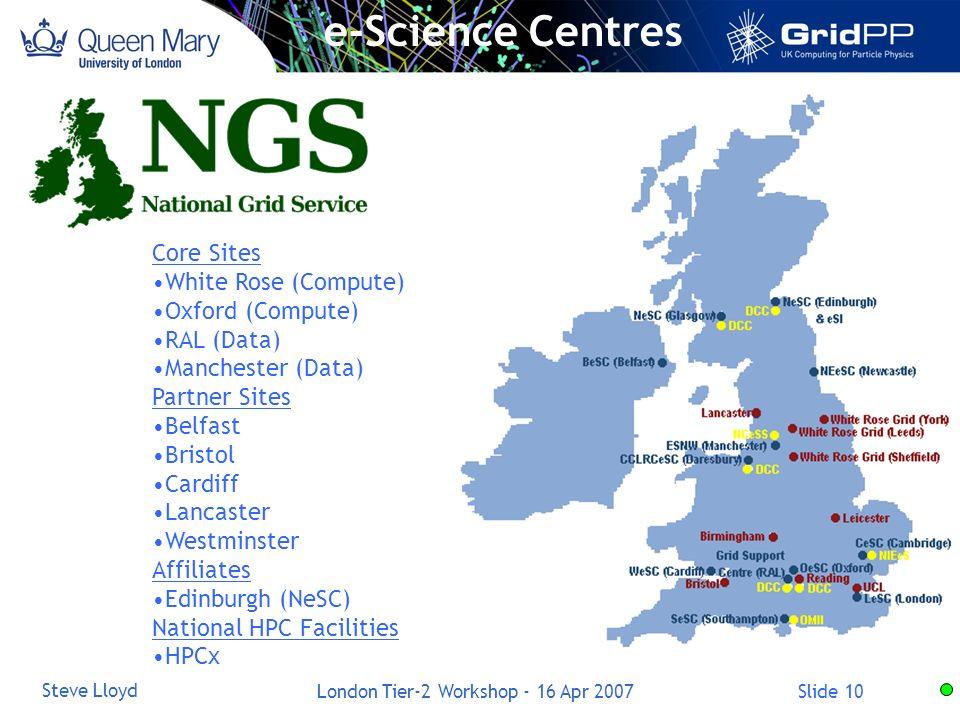 Slide 10 Steve Lloyd London Tier-2 Workshop - 16 Apr 2007 e-Science Centres Core Sites White Rose (Compute) Oxford (Compute) RAL (Data) Manchester (Da