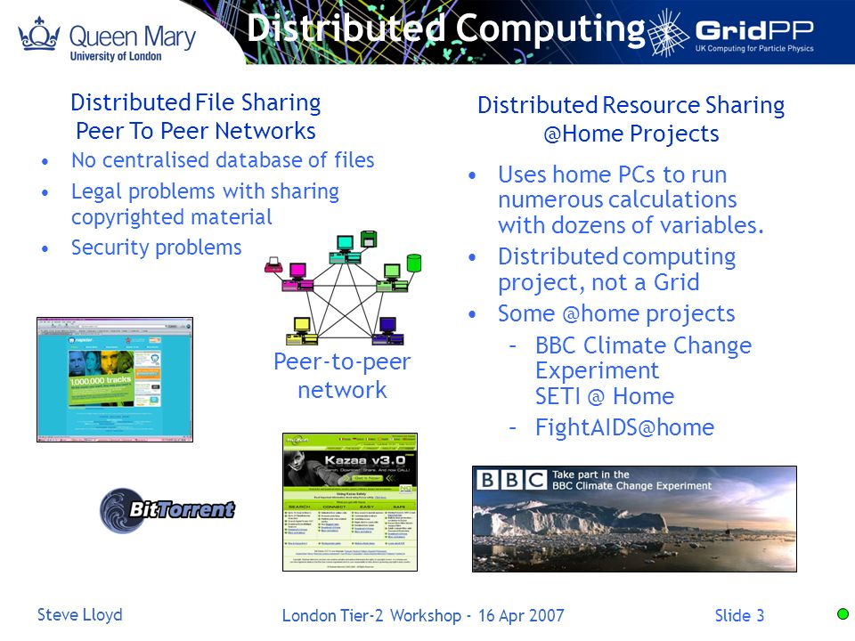 Slide 3 Steve Lloyd London Tier-2 Workshop - 16 Apr 2007 Distributed Resource Projects Uses home PCs to run numerous calculations with dozens of variables.