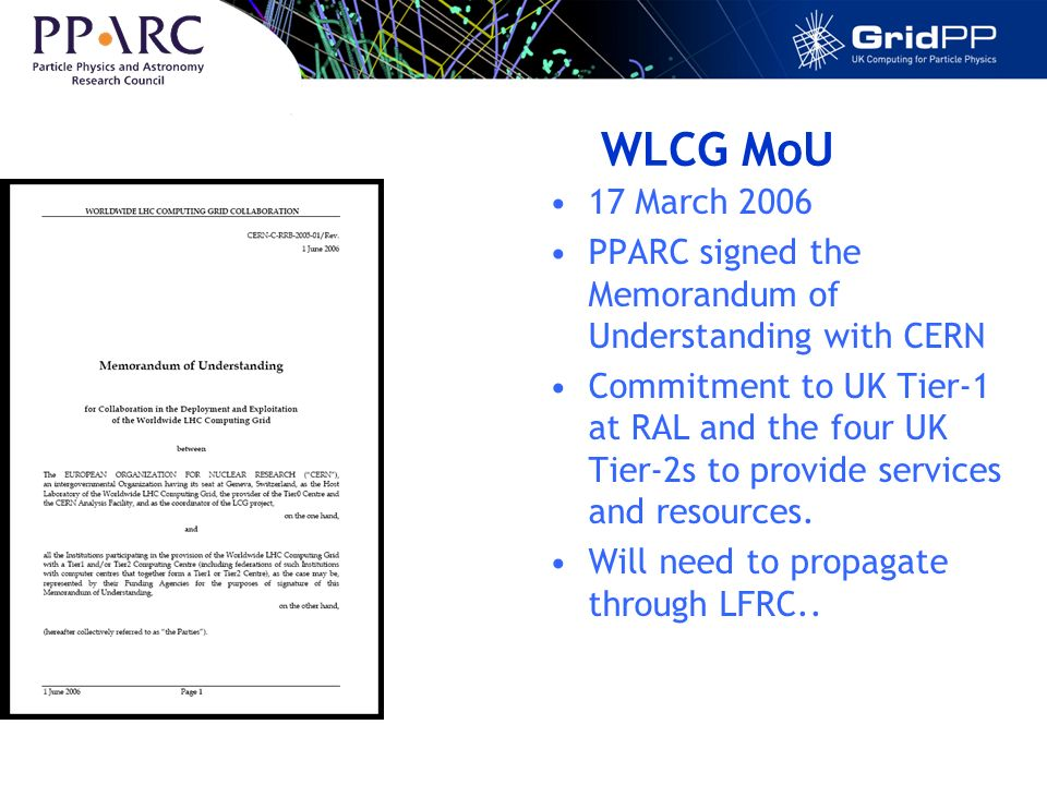 WLCG MoU 17 March 2006 PPARC signed the Memorandum of Understanding with CERN Commitment to UK Tier-1 at RAL and the four UK Tier-2s to provide services and resources.
