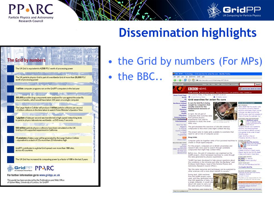 Dissemination highlights the Grid by numbers (For MPs) the BBC..