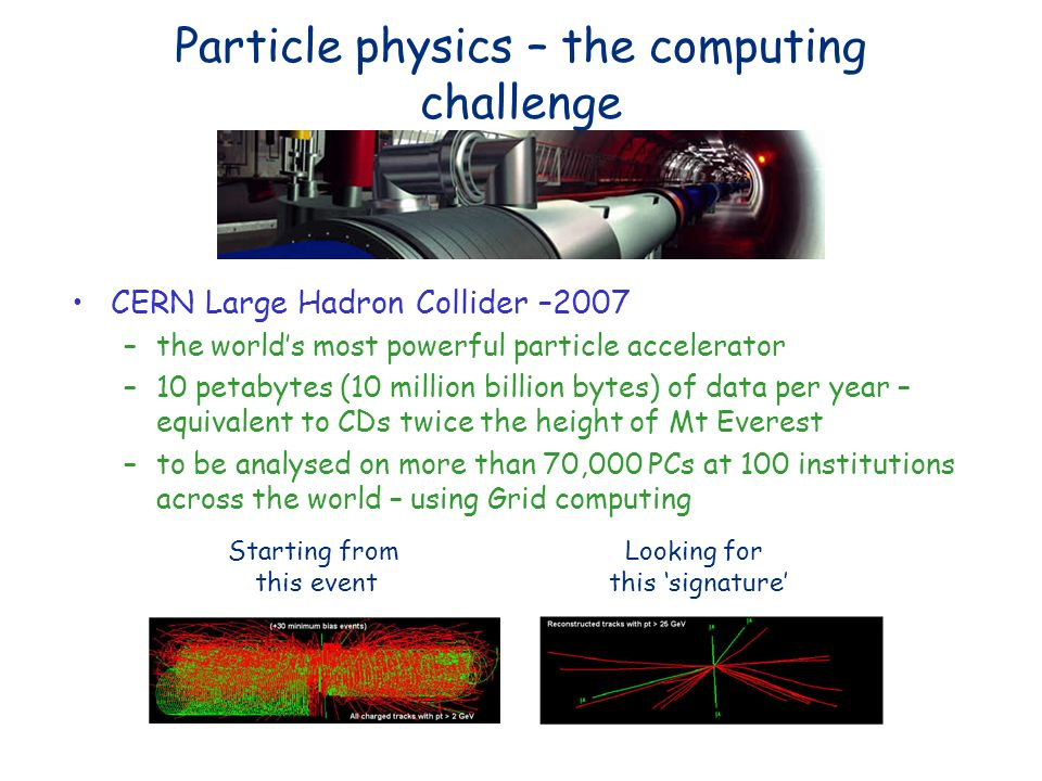 Particle physics – the computing challenge CERN Large Hadron Collider –2007 –the worlds most powerful particle accelerator –10 petabytes (10 million billion bytes) of data per year – equivalent to CDs twice the height of Mt Everest –to be analysed on more than 70,000 PCs at 100 institutions across the world – using Grid computing Starting from this event Looking for this signature