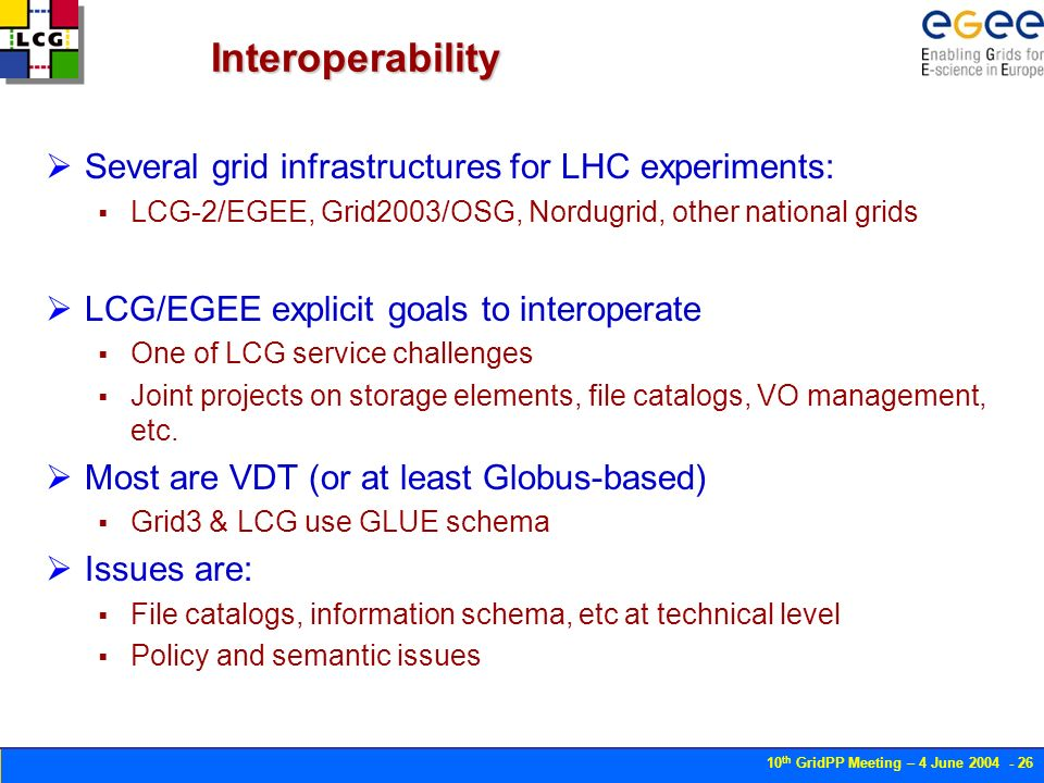 10 th GridPP Meeting – 4 June Interoperability Several grid infrastructures for LHC experiments: LCG-2/EGEE, Grid2003/OSG, Nordugrid, other national grids LCG/EGEE explicit goals to interoperate One of LCG service challenges Joint projects on storage elements, file catalogs, VO management, etc.