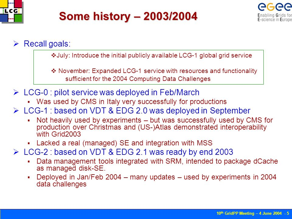 10 th GridPP Meeting – 4 June Some history – 2003/2004 Recall goals: LCG-0 : pilot service was deployed in Feb/March Was used by CMS in Italy very successfully for productions LCG-1 : based on VDT & EDG 2.0 was deployed in September Not heavily used by experiments – but was successfully used by CMS for production over Christmas and (US-)Atlas demonstrated interoperability with Grid2003 Lacked a real (managed) SE and integration with MSS LCG-2 : based on VDT & EDG 2.1 was ready by end 2003 Data management tools integrated with SRM, intended to package dCache as managed disk-SE.
