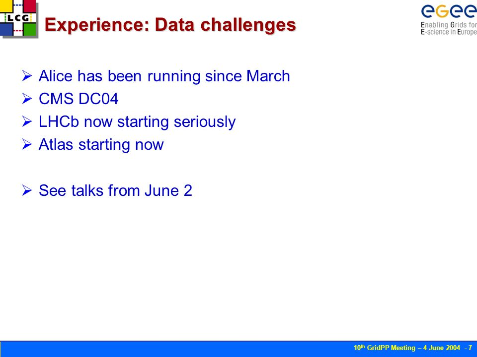 10 th GridPP Meeting – 4 June Experience: Data challenges Alice has been running since March CMS DC04 LHCb now starting seriously Atlas starting now See talks from June 2