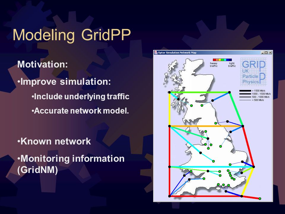 Modeling GridPP Motivation: Improve simulation: Include underlying traffic Accurate network model.