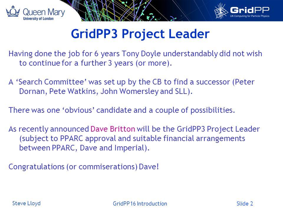 Slide 3 Steve Lloyd GridPP16 Introduction Proposal Procedure Tier-1£Am Tier-2£Bm Middleware£Cm Applications£Dm Management£Em … Total £Xm Tier-1£am Tier-2£bm Middleware£cm Applications£dm Management£em … Total £YM Proposal Re-evaluation Peer Review Institute 1£fm Institute 2£gm Institute 3£hm Institute 4£im Institute 5£jm … Total £YM Apply for Grants GridPP1/ GridPP2 GridPP3 Tier-1£Am Tier-2£Bm Middleware£Cm Deployment£Dm Management£Em … Total £Xm Institute 1£Fm Institute 2£Gm Institute 3£Hm Institute 4£Im Institute 5£Jm … Total £XM Peer Review Proposal Allocate Institute 1£fm Institute 2£gm Institute 3£hm Institute 4£im Institute 5£jm … Total £YM Is this still a sensible project?