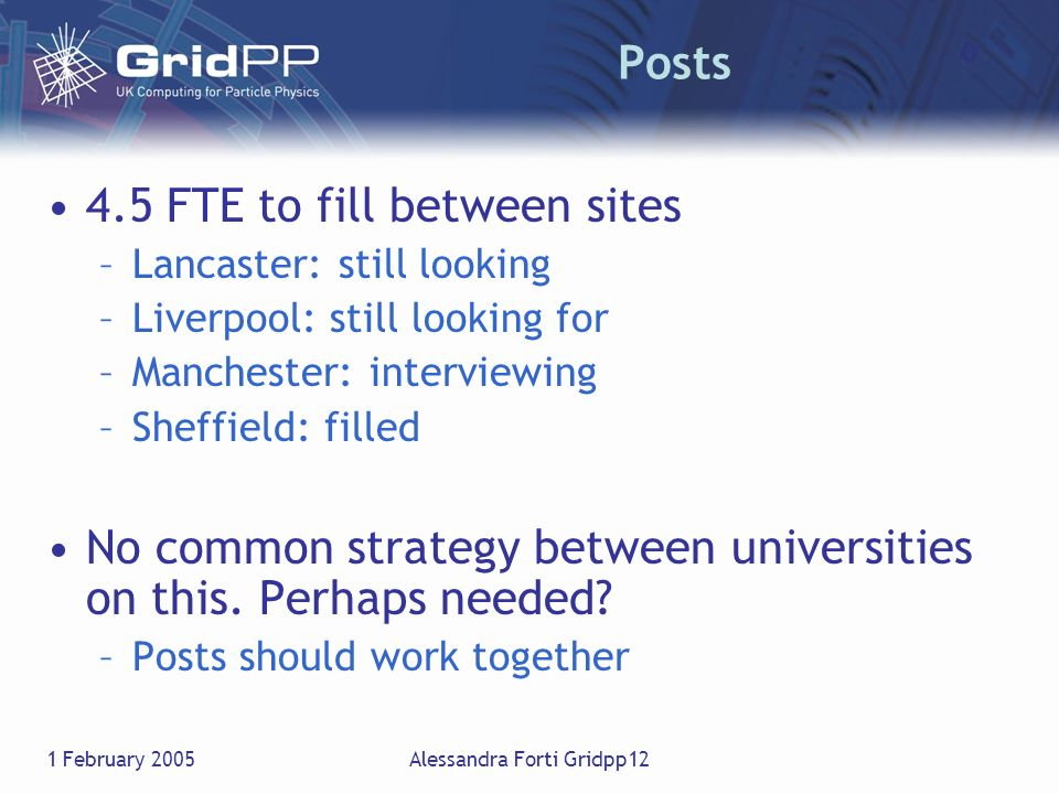 1 February 2005Alessandra Forti Gridpp12 Posts 4.5 FTE to fill between sites –Lancaster: still looking –Liverpool: still looking for –Manchester: inte
